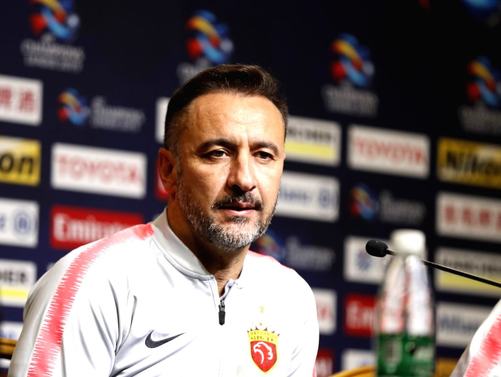SHANGHAI, March 5, 2019 - Shanghai SIPG FC head coach Vitor Pereira reacts during the pre-match press conference one day ahead of the group H match against Japan's Kawasaki Frontale at 2019 AFC ...