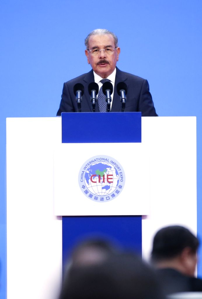SHANGHAI, Nov. 5, 2018 - Dominican Republic's President Danilo Medina addresses the opening ceremony of the first China International Import Expo in Shanghai, east China, Nov. 5, 2018.