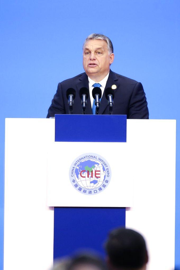 SHANGHAI, Nov. 5, 2018 - Hungarian Prime Minister Viktor Orban addresses the opening ceremony of the first China International Import Expo in Shanghai, east China, Nov. 5, 2018. - Viktor Orban
