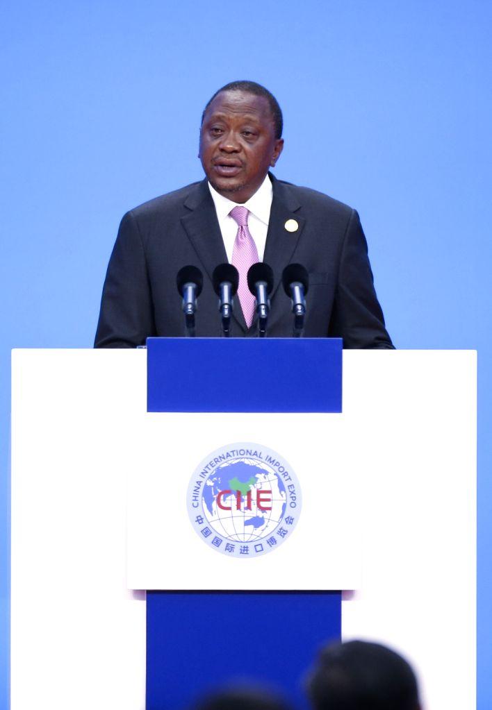 SHANGHAI, Nov. 5, 2018 - Kenyan President Uhuru Kenyatta addresses the opening ceremony of the first China International Import Expo in Shanghai, east China, Nov. 5, 2018.