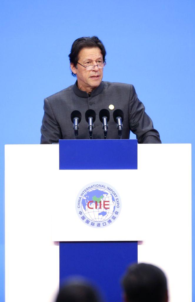 SHANGHAI, Nov. 5, 2018 - Pakistani Prime Minister Imran Khan addresses the opening ceremony of the first China International Import Expo in Shanghai, east China, Nov. 5, 2018. - Imran Khan