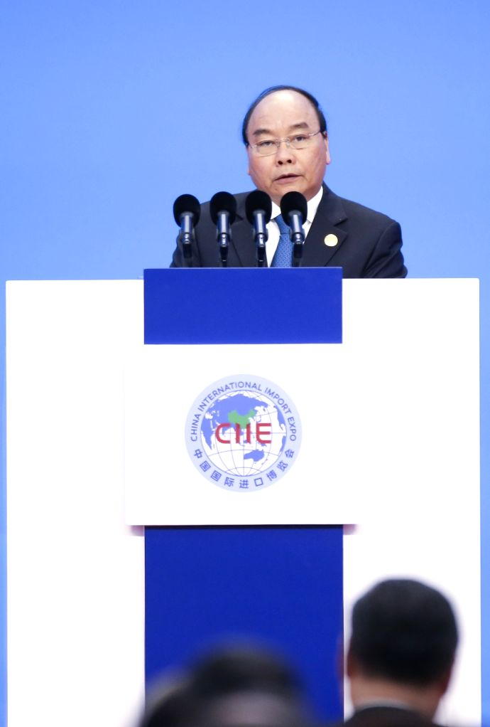 SHANGHAI, Nov. 5, 2018 - Vietnamese Prime Minister Nguyen Xuan Phuc addresses the opening ceremony of the first China International Import Expo in Shanghai, east China, Nov. 5, 2018. - Nguyen Xuan Phuc
