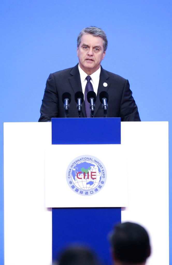 SHANGHAI, Nov. 5, 2018 - World Trade Organization Director-General Roberto Azevedo addresses the opening ceremony of the first China International Import Expo in Shanghai, east China, Nov. 5, 2018.