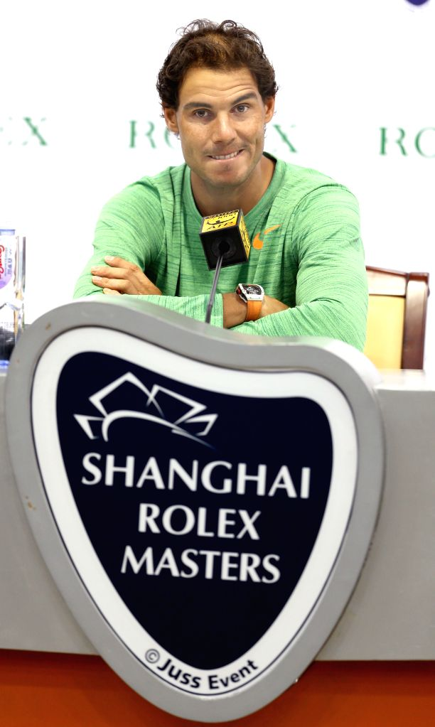 SHANGHAI, Oct. 10, 2016 - Rafael Nadal of Spain attends a press conference at the Shanghai Masters tennis tournament in Shanghai, east China, Oct. 10, 2016.