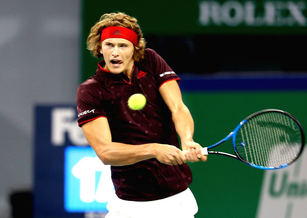SHANGHAI, Oct. 11, 2017 - Germany's Alexander Zverev hits a return during the second round match against Britain's Aljaz Bedene at 2017 ATP Shanghai Rolex Masters in Shanghai, east China, Oct. 11, ...