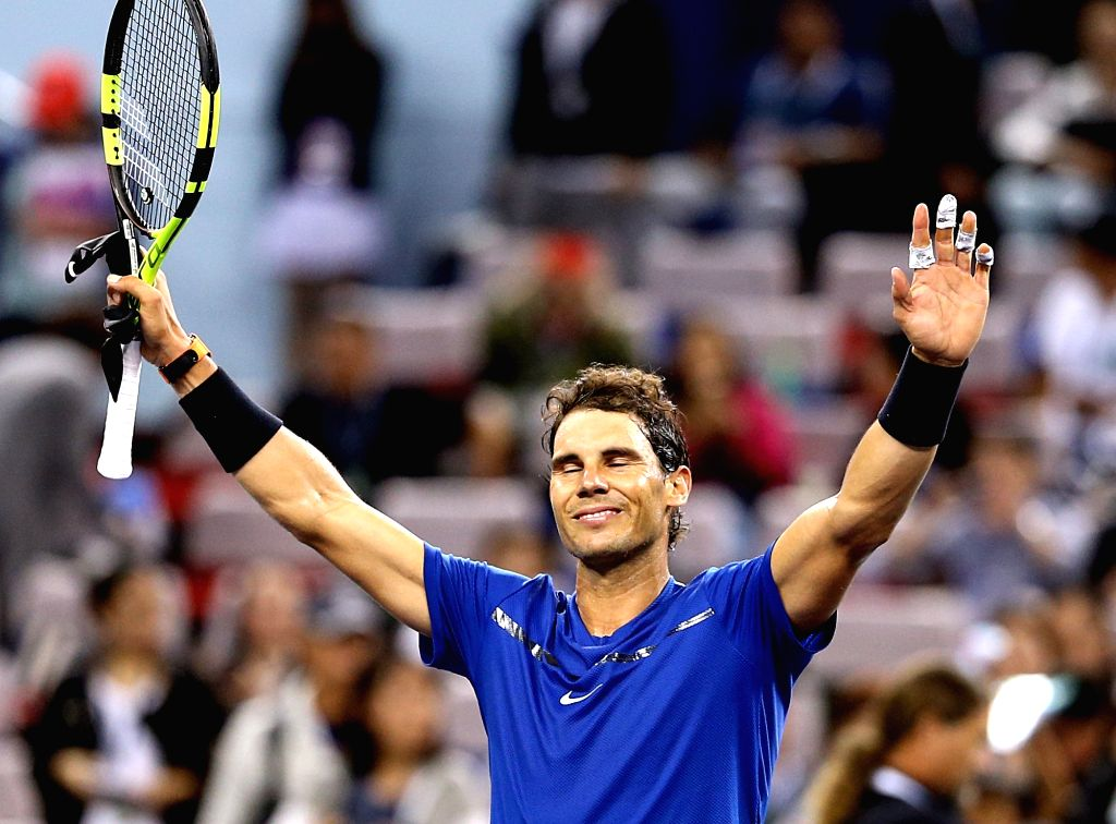 SHANGHAI, Oct. 11, 2017 - Spain's Rafael Nadal reacts after winning the second round match against Jared Donaldson of the United States at 2017 ATP Shanghai Rolex Masters in Shanghai, east China, ...