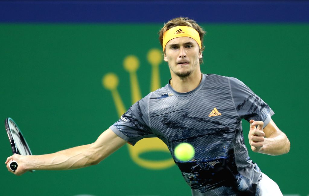 SHANGHAI, Oct. 11, 2019 (Xinhua) -- Alexander Zverev of Germany competes during the men's singles quarter final match between Roger Federer of Switzerland and Alexander Zverev of Germany at 2019 ATP Shanghai Masters tennis tournament in Shanghai, eas
