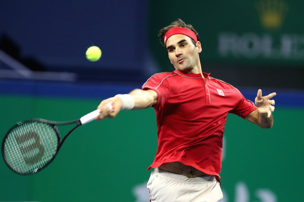 SHANGHAI, Oct. 11, 2019 (Xinhua) -- Roger Federer of Switzerland competes during the men's singles quarter final match between Roger Federer of Switzerland and Alexander Zverev of Germany at 2019 ATP Shanghai Masters tennis tournament in Shanghai, ea