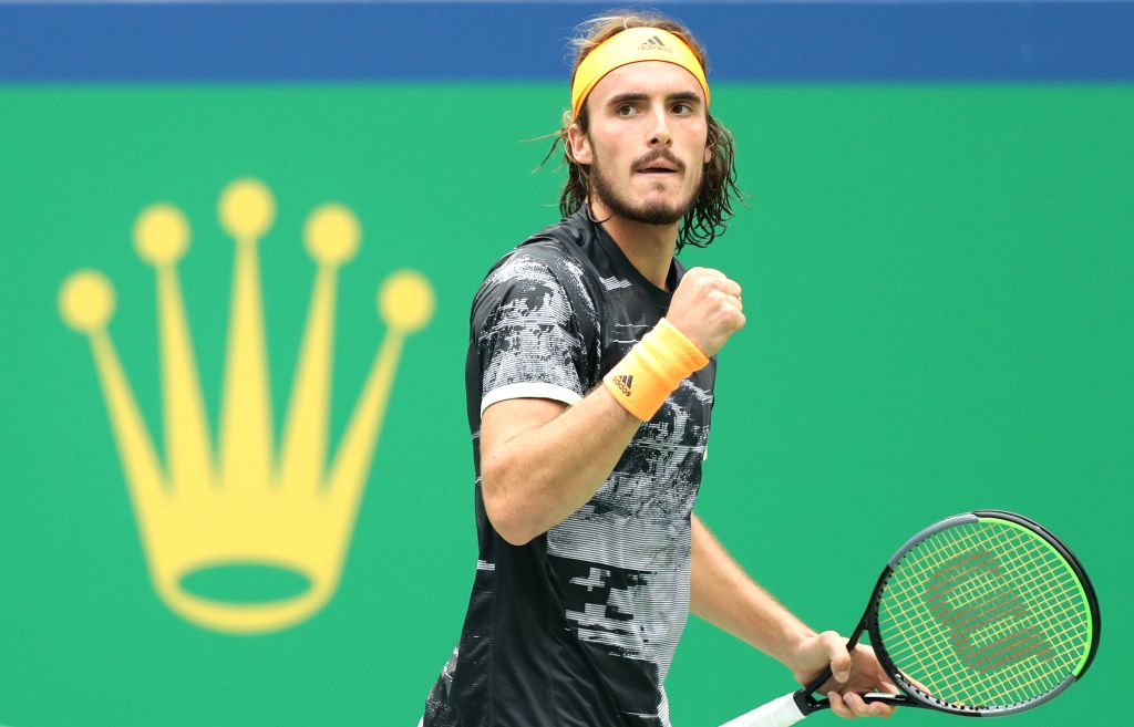 SHANGHAI, Oct. 11, 2019 (Xinhua) -- Stefanos Tsitsipas of Greece celebrates during the men's singles quarterfinal match between Novak Djokovic of Serbia and Stefanos Tsitsipas of Greece at 2019 ATP Shanghai Masters tennis tournament in Shanghai, east