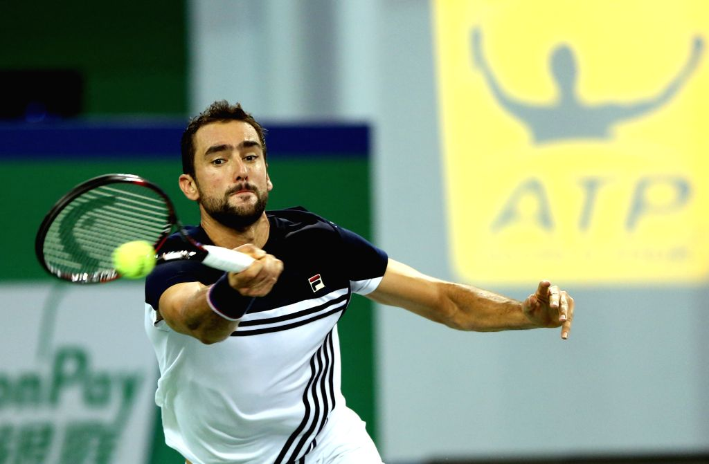 SHANGHAI, Oct. 12, 2017 - Marin Cilic of Croatia returns the ball during the singles third round match against Steve Johnson of the United States at 2017 ATP Shanghai Masters tennis tournament in ...