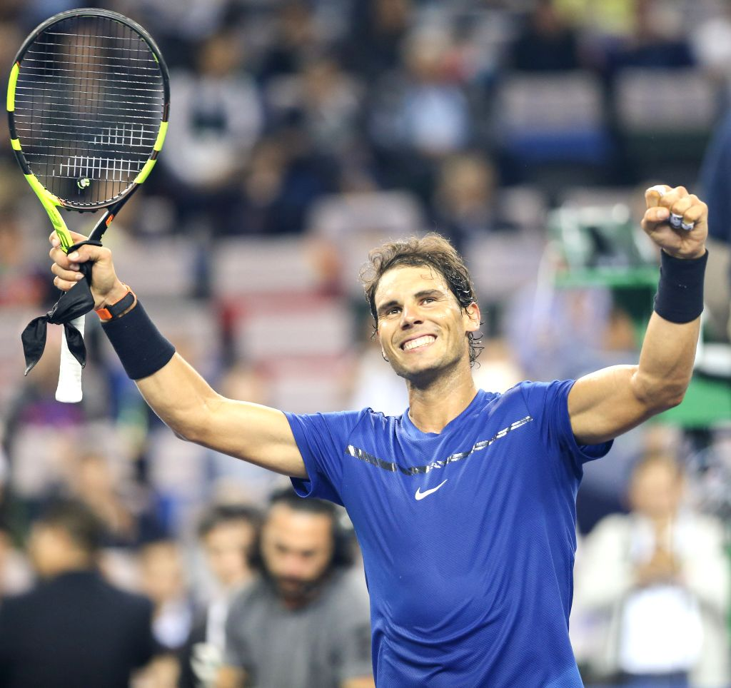 SHANGHAI, Oct. 12, 2017 - Rafael Nadal of Spain celebrates after the singles third round match against Fabio Fognini of Italy at 2017 ATP Shanghai Masters tennis tournament in Shanghai, east China, ...