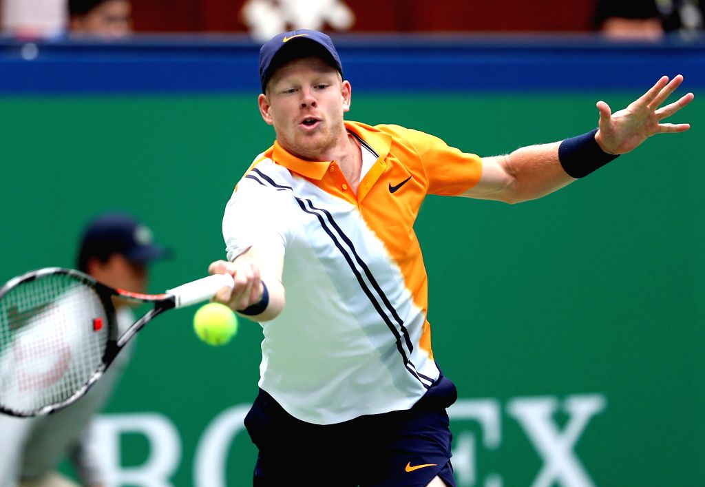 SHANGHAI, Oct. 12, 2018 (Xinhua) -- Kyle Edmund of Britain hits a return during the men's singles quarterfinal match against Alexander Zverev of Germany at the Shanghai Masters tennis tournament in Shanghai, east China on Oct. 11, 2018. (Xinhua/Fan J
