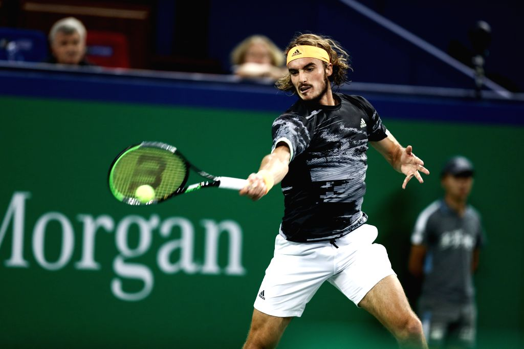 SHANGHAI, Oct. 12, 2019 - Stefanos Tsitsipas of Greece competes during the men's singles semi-final match between Daniil Medvedev of Russia and Stefanos Tsitsipas of Greece at 2019 ATP Shanghai ...