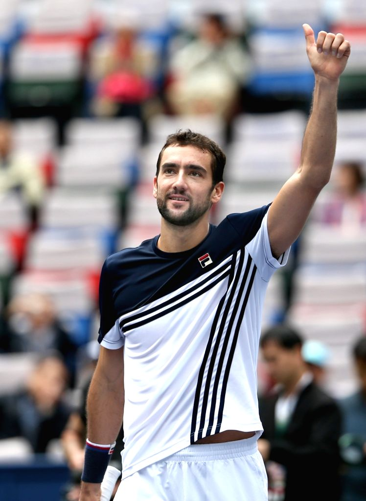 SHANGHAI, Oct. 13, 2017 - Marin Cilic of Croatia celebrates after winning the singles quarterfinal match against Albert Ramos-Vinolas of Spain at 2017 ATP Shanghai Masters tennis tournament in ...