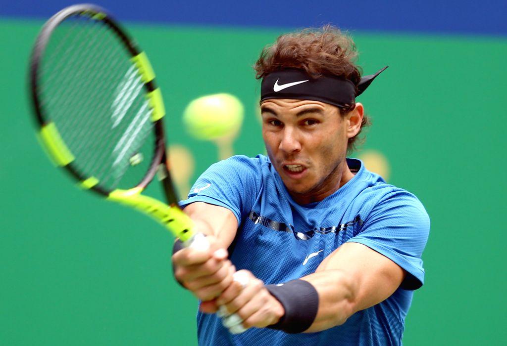 SHANGHAI, Oct. 13, 2017 - Spain's Rafael Nadal hits a return during the singles quarterfinal match against Bulgaria's Grigor Dimitrov at 2017 ATP Shanghai Masters tennis tournament in Shanghai, east ...