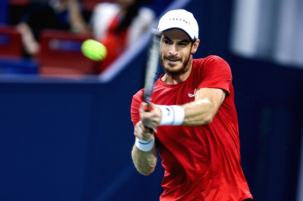 SHANGHAI, Oct. 7, 2019 (Xinhua) -- Andy Murray of Britain competes during the men's singles first round match between Andy Murray of Britain and Juan Ignacio Londero of Argentina at 2019 ATP Shanghai Masters tennis tournament in Shanghai, east China,