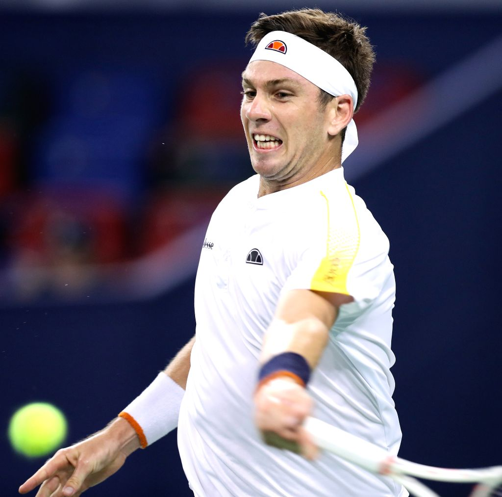 SHANGHAI, Oct. 8, 2019 - Cameron Norrie of Britain competes during the men's singles second round match between Daniil Medvedev of Russia and Cameron Norrie of Britain at 2019 ATP Shanghai Masters ...