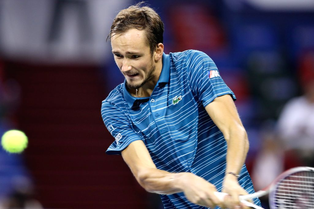 SHANGHAI, Oct. 8, 2019 - Daniil Medvedev of Russia competes during the men's singles second round match between Daniil Medvedev of Russia and Cameron Norrie of Britain at 2019 ATP Shanghai Masters ...