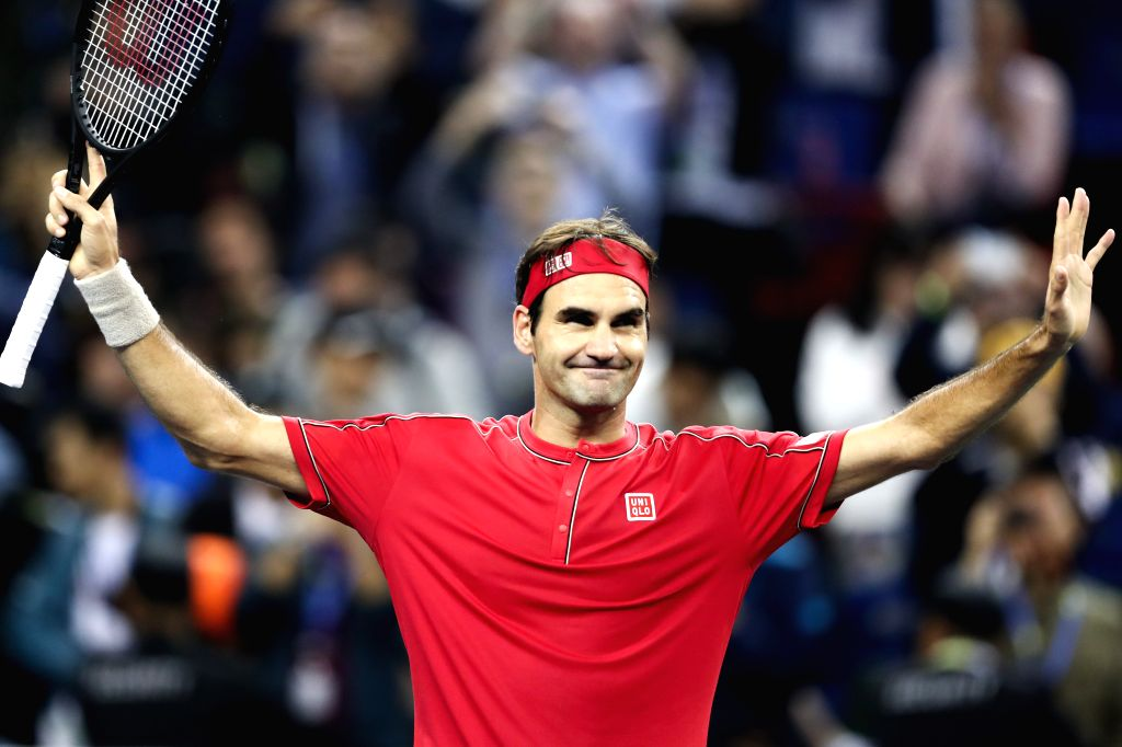 SHANGHAI, Oct. 8, 2019 - Roger Federer of Switzerland celebrates after the men's singles second round match between Roger Federer of Switzerland and Albert Ramos-Vinolas of Spain at 2019 ATP Shanghai ...