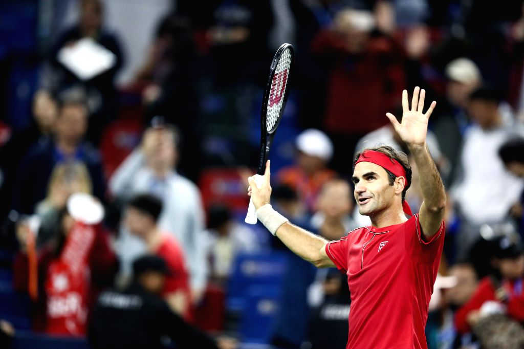 SHANGHAI, Oct. 8, 2019 (Xinhua) -- Roger Federer of Switzerland celebrates after the men's singles second round match between Roger Federer of Switzerland and Albert Ramos-Vinolas of Spain at 2019 ATP Shanghai Masters tennis tournament in Shanghai, e