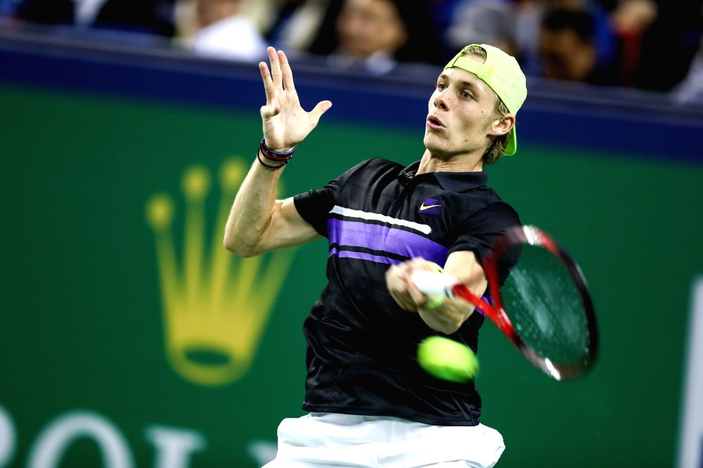 SHANGHAI, Oct. 9, 2019 - Denis Shapovalov of Canada competes during the men's singles second round match between Novak Djokovic of Serbia and Denis Shapovalov of Canada at 2019 ATP Shanghai Masters ...