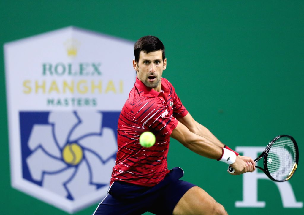 SHANGHAI, Oct. 9, 2019 - Novak Djokovic of Serbia competes during the men's singles second round match between Novak Djokovic of Serbia and Denis Shapovalov of Canada at 2019 ATP Shanghai Masters ...