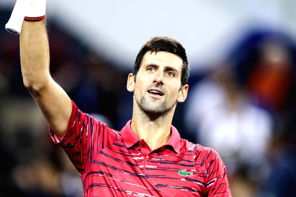 SHANGHAI, Oct. 9, 2019 - Novak Djokovic of Serbia celebrates after winning the men's singles second round match between Novak Djokovic of Serbia and Denis Shapovalov of Canada at 2019 ATP Shanghai ...