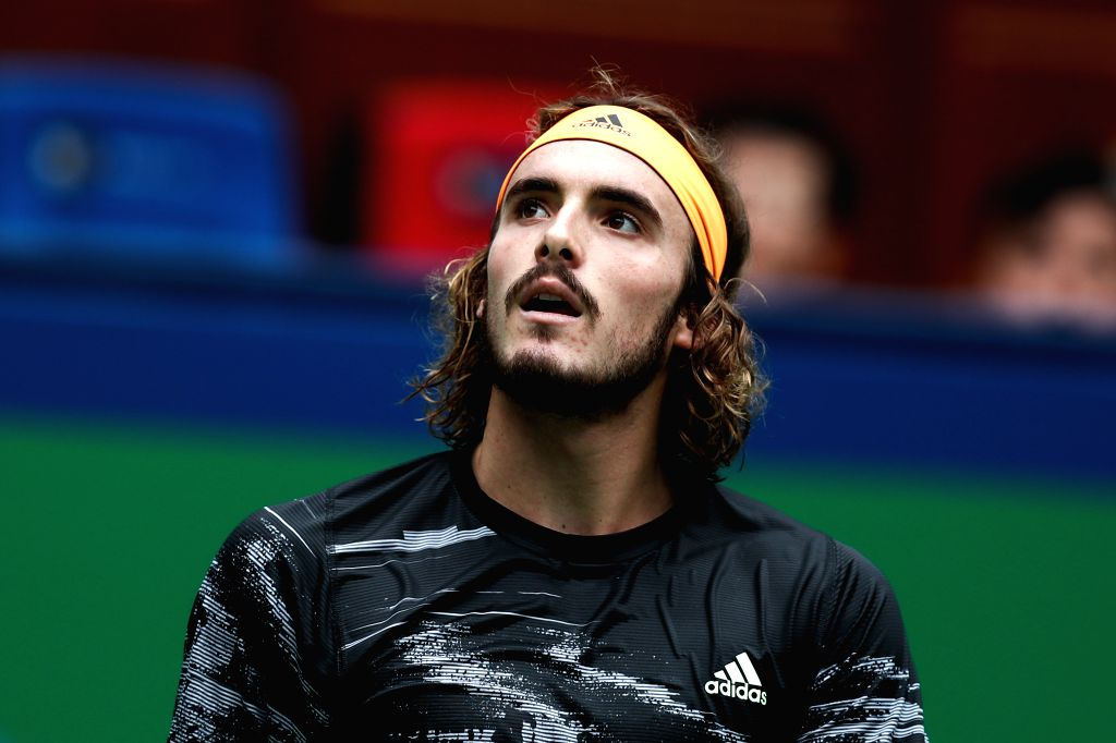 SHANGHAI, Oct. 9, 2019 - Stefanos Tsitsipas of Greece reacts during the men's singles second round match between Stefanos Tsitsipas of Greece and Felix Auger-Aliassime of Canada at 2019 ATP Shanghai ...