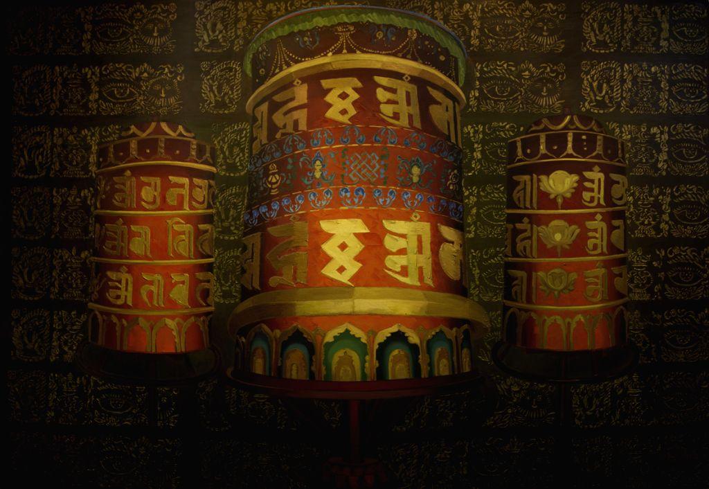 Shanti Yagya, oil on canvas -Nepalese artist Uma Shankar Shah presents this unique blend in an exhibition - Uma Shankar Shah