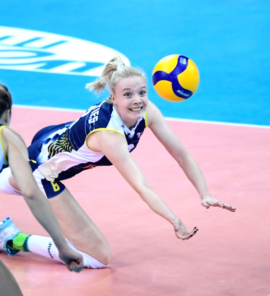 SHAOXING, Dec. 8, 2019 - Jennifer Geerties of Imoco Volley Conegliano competes during the final match between Imoco Volley Conegliano of Italy and Eczaclbasl Vitra Istanbul of Turkey at 2019 FIVB ...