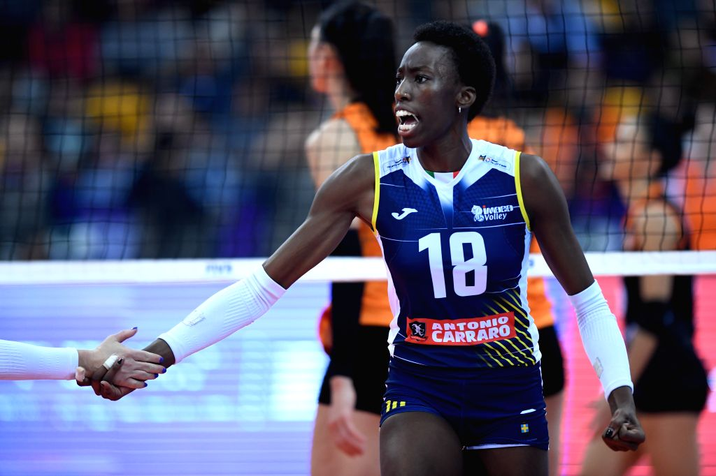SHAOXING, Dec. 8, 2019 - Paola Ogechi Egonu of Imoco Volley Conegliano celebrates during the final match between Imoco Volley Conegliano of Italy and Eczaclbasl Vitra Istanbul of Turkey at 2019 FIVB ...