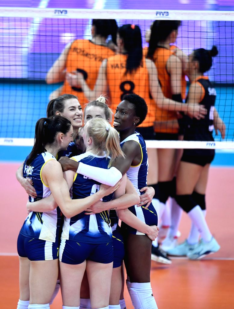 SHAOXING, Dec. 8, 2019 - Players of Imoco Volley Conegliano celebrate during the final match between Imoco Volley Conegliano of Italy and Eczaclbasl Vitra Istanbul of Turkey at 2019 FIVB Women's Club ...