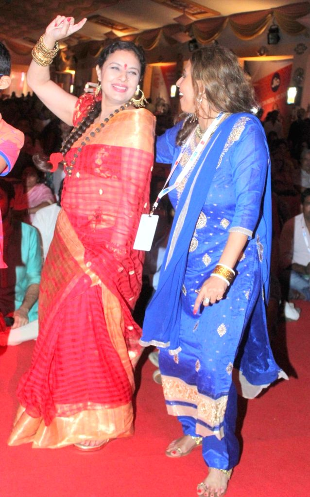 Sharbani Mukherje during North Bombay Durga Puja celebrations in Mumbai on Oct. 9, 2016.