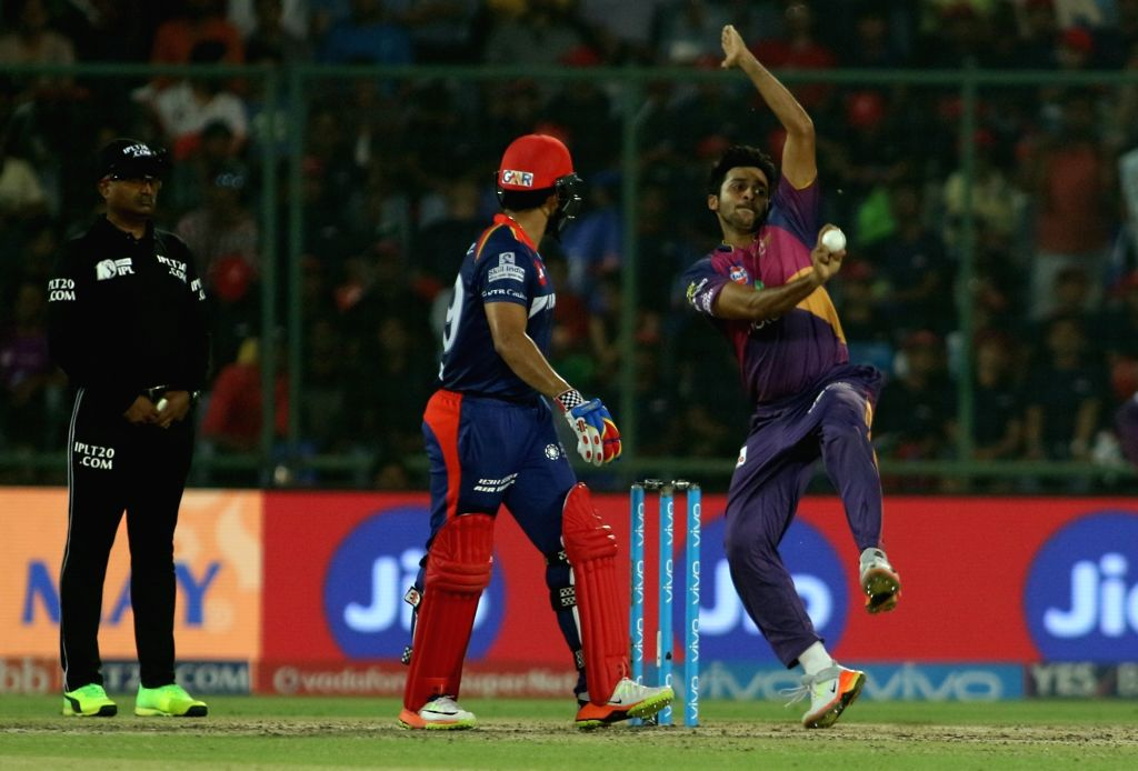 Shardul Thakur of Rising Pune Supergiant bowls during the match between the Delhi Daredevils and the Rising Pune Supergiant held at the Feroz Shah Kotla Stadium in Delhi on May 12, 2017.
