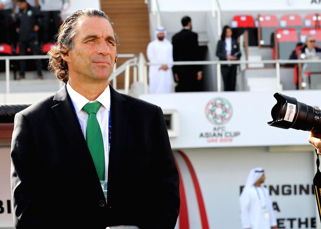 SHARJAH, Jan. 21, 2019 - Head coah Juan Pozzi of Saudi Arabia reacts before  the 2019 AFC Asian Cup round of 16 match between Japan and Saudi Arabia in Sharjah, the United Arab Emirates (UAE), on ...