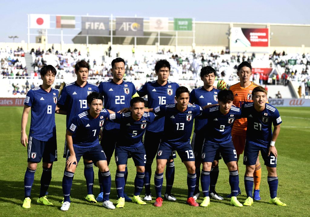 SHARJAH, Jan. 21, 2019 - Players of Japan pose for group pictures before the 2019 AFC Asian Cup round of 16 match between Japan and Saudi Arabia in Sharjah, the United Arab Emirates (UAE), on Jan. ...