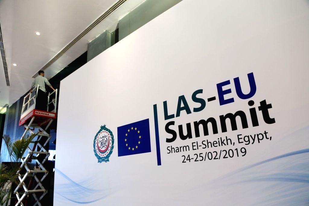 SHARM EL-SHEIKH (EGYPT), Feb. 23, 2019 A worker works inside the International Congress Center one day before the first European Union(EU)-Arab League(AL) summit in Sharm El-Sheikh, ...