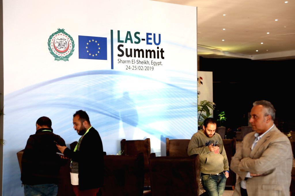 SHARM EL-SHEIKH (EGYPT), Feb. 23, 2019 Workers prepare inside the International Congress Center one day before the first European Union(EU)-Arab League(AL) summit in Sharm El-Sheikh, ...