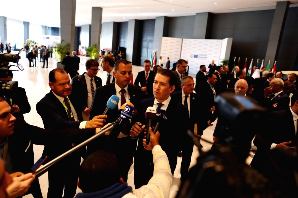 SHARM EL-SHEIKH (EGYPT), Feb. 24, 2019 Austrian Chancellor Sebastian Kurz (C) speaks to the media during the first League of Arab States (LAS)-EU Summit in Sharm el-Sheikh, Egypt, on Feb. ...
