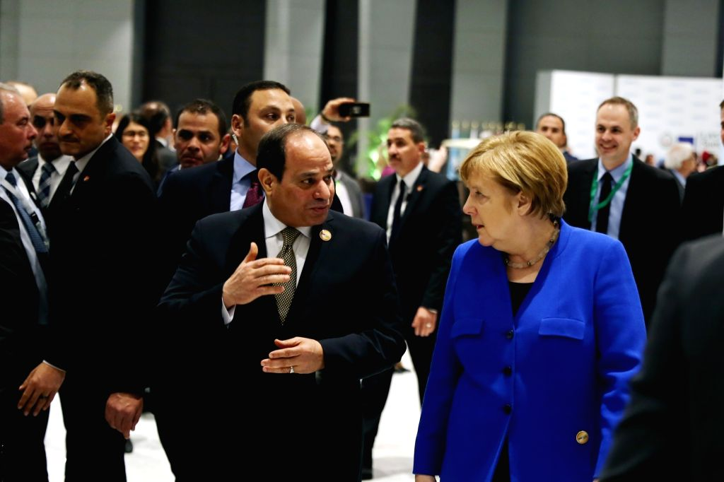 SHARM EL-SHEIKH (EGYPT), Feb. 24, 2019 Egyptian President Abdel-Fattah al-Sisi (2nd R, Front) and German Chancellor Angela Merkel (1st R, Front) attend the first League of Arab States ...