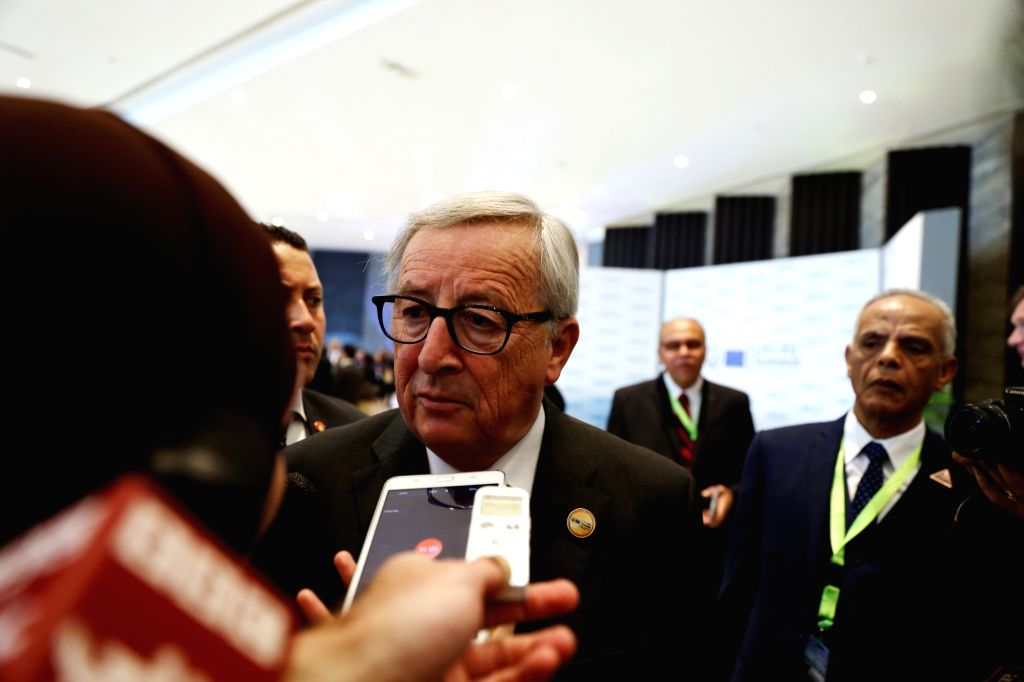 SHARM EL-SHEIKH (EGYPT), Feb. 24, 2019 European Commission President Jean-Claude Juncker (C) speaks to the media during the first League of Arab States (LAS)-EU Summit in Sharm el-Sheikh, ...