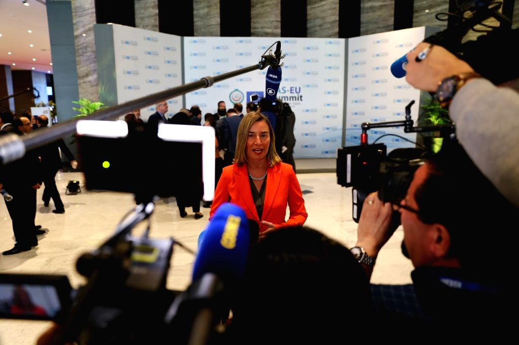 SHARM EL-SHEIKH (EGYPT), Feb. 24, 2019 High Representative of the EU for Foreign Affairs and Security Policy Federica Mogherini (C) speaks to the media during the first League of Arab ...