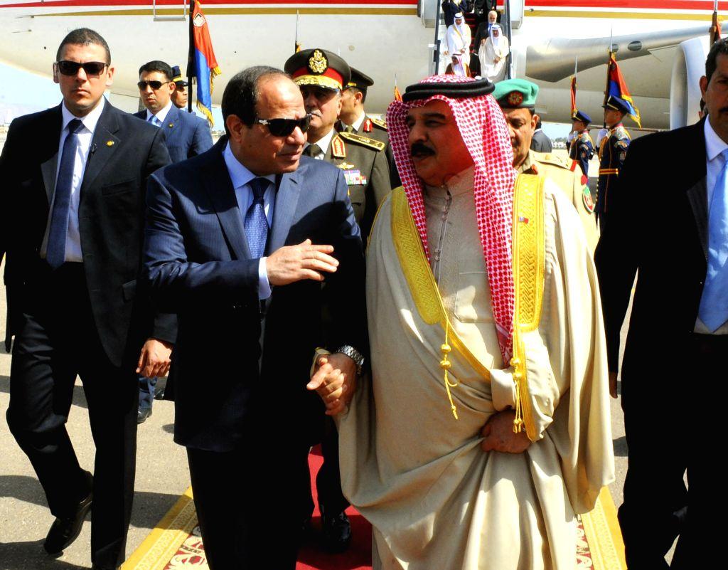 SHARM EL-The handout photo from Egypt's state-run news agency MENA shows Egyptian President Abdel-Fattah al-Sisi (L front) receiving Yemeni President Abd-Rabbo ...