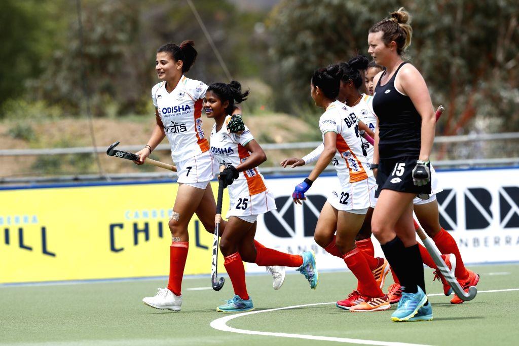 Sharmila Devi (extreme left) scored two goals for India.