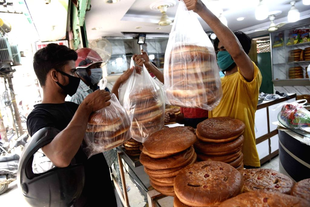 Sheermal - a saffron-flavored traditional flatbread - on sale at a shop at Sabzibagh market on the eve of Eid-Al-Adha celebrations, in Patna on July 31, 2020.