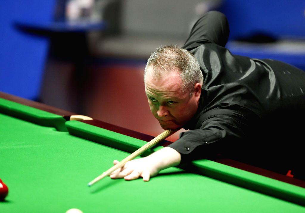 SHEFFIELD, April 30, 2017 - John Higgins of Scotland competes during the final match against Mark Selby of England at the World Snooker Championship 2017 at the Crucible Theatre in Sheffield, ...