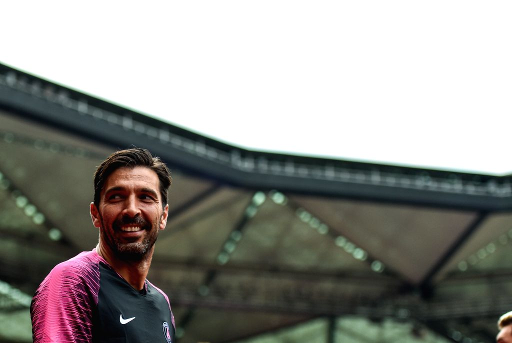SHENZHEN, Aug. 3, 2018 - Paris Saint-Germain's Gianluigi Buffon attends a training session on the eve of the French Trophy of Champions football match between Monaco and Paris Saint-Germain at ...