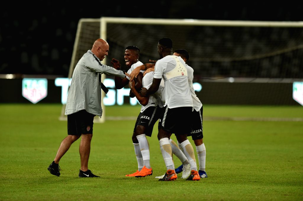 SHENZHEN, Aug. 3, 2018 - Players of Monaco attend a training session on the eve of the French Trophy of Champions football match between Monaco and Paris Saint-Germain at Universiade Stadium in ...