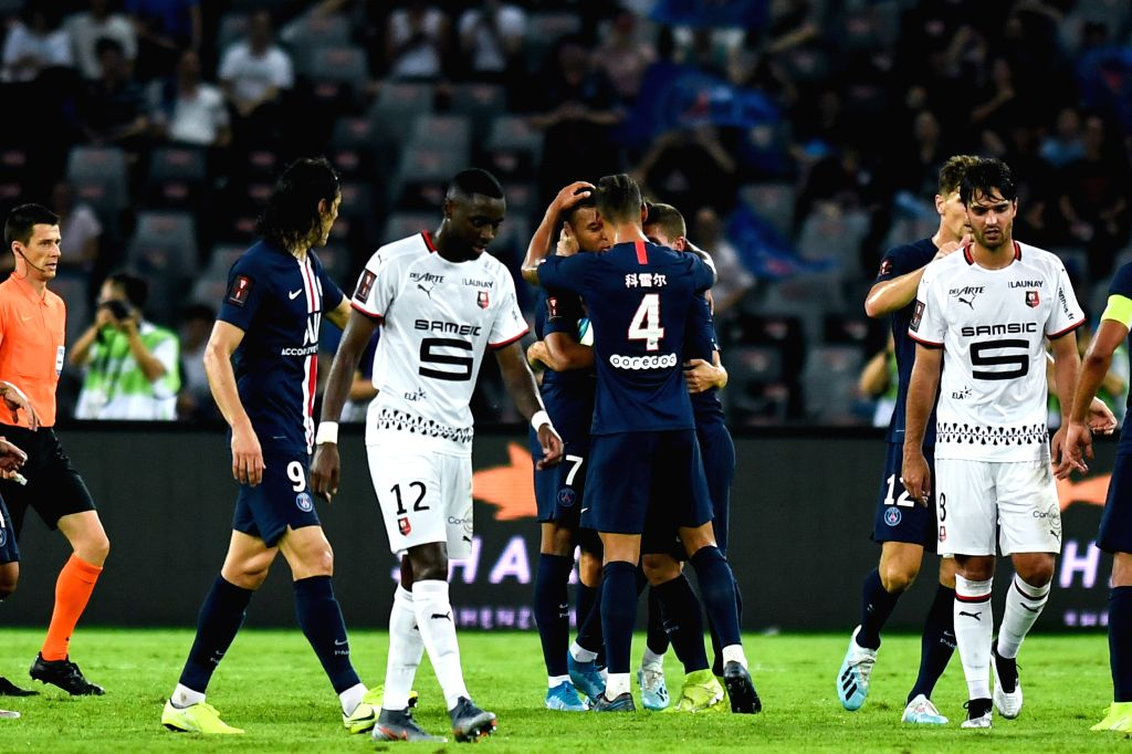 SHENZHEN, Aug. 3, 2019 - Players of Paris Saint-Germain celebrate scoring during the French Trophy of Champions football match between Paris Saint-Germain and Rennes in Shenzhen of south China's ...
