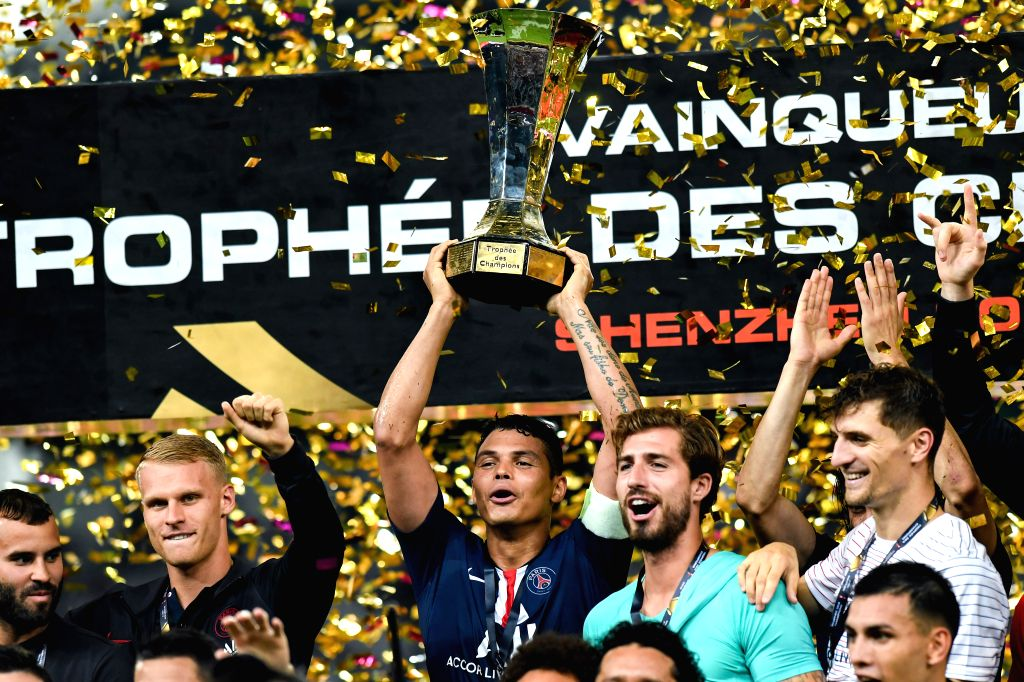 SHENZHEN, Aug. 3, 2019 - Thiago Silva (C) celebrates during the trophy ceremony after the French Trophy of Champions football match between Paris Saint-Germain and Rennes in Shenzhen of south China's ...